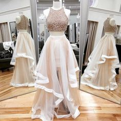 RightBrides 47470 | Blush Pink Prom Dresses 2017, Gorgeous Prom Dresses, Beading Prom Dresses, Two Pieces Prom Dresses, Tulle Prom Dresses, Long Evening Dresses