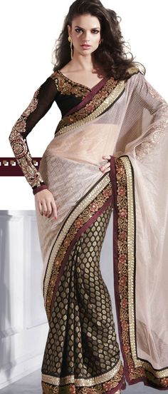 light fawn Net #Saree with #Blouse @ $104.61 | Shop @ http://www.utsavfashion.com/store/sarees-large.aspx?icode=sws4064