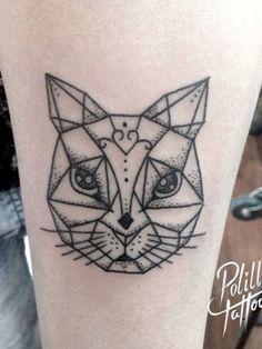 https://www.instagram.com/polillatattoo/ geometric cat tattoo tatuaje gato geometrico dotwork puntillismo