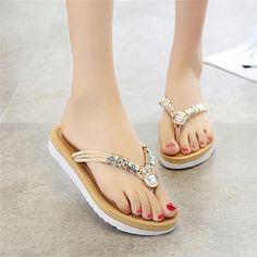 6bed2c1a3140a Crystal flip flops women beading sandals indoor slippers slipers house  summer luxury woman badslippers designers dames pantufa