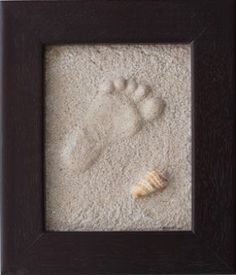 Sand & Frame...Baby hand-prints and footprints...awesome!