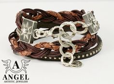 Natural leather Sterling Silver  Bracelet with Chains by AngelJK, zł250.00