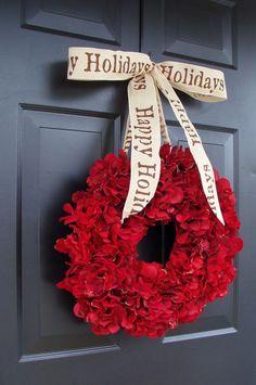 Cranberry Red Christmas Wreath Christmas Decor by elegantholidays,