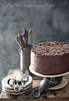 Coffee Mascarpone Layered Cake with Dark Chocolate Ganache - Passionate About Baking