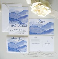 Mountain Invitation Watercolor Illustrated with Envelope (shown with RSVP Postcard and Thank You Card) for Wedding, Party, or other Event