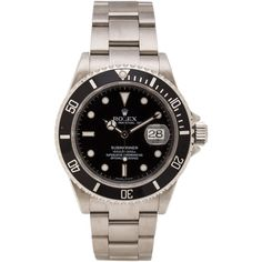 Vintage Rolex Stainless Submariner Black Dial (100,795 MXN) ❤ liked on Polyvore featuring jewelry, watches, accessories, rolex, black dial watches, stainless steel jewelry, stainless steel wrist watch and vintage jewellery