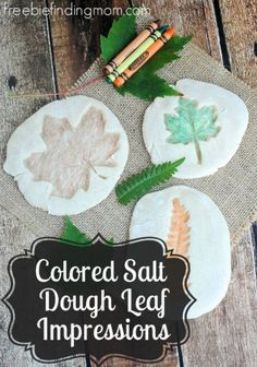 "Leaf Crafts for Kids: Colored Salt Dough Leaf Impressions - Head outdoors to grab the main ""ingredient"" for these fall crafts for kids. Once they have found their favorite leaves encourage them to head inside and leave their mark in this fun DIY kids project."