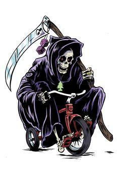 Grim Reaper Art, Grim Reaper Tattoo, Character Illustration, Illustration Art, Reaper Drawing, Traditional Tattoo Old School, War Tattoo, Graphic Design Lessons, Totenkopf Tattoos