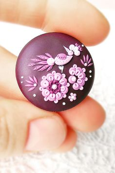 Items similar to Ultra Violet flower brooch, Floral round jewelry, Clay miniature, Little bird jewel Mom Jewelry, Bird Jewelry, Jewelery, Polymer Clay Embroidery, Polymer Clay Crafts, Great Gifts For Women, Purple Rose, Delicate Jewelry, Clay Miniatures