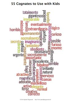 55 Spanish Cognates To Use with Kids - Spanish Playground