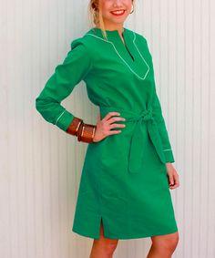 Another great find on #zulily! Green Slavo Tie-Waist Dress by Kayce Hughes #zulilyfinds