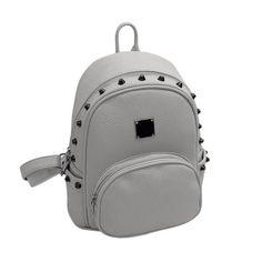 1943ff2ec86 2017 Fashion Simple Style Women Backpacks Waterproof PU Leather Travel  Backpack for Girls Students Female Rivet Rucksack Mochila