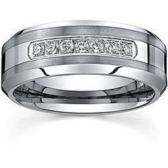Men's Tungsten Carbide 1/5ct TDW Diamond Comfort-fit Band (8 mm)