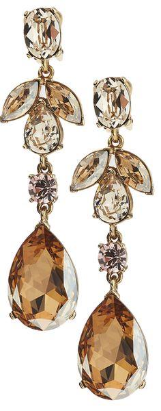 Oscar de la Renta Bold Crystal Teardrop Clip-On Earrings