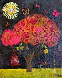 Mixed Media Encaustic Art made by Cathy Nichols with her stencil designs from StencilGirl.