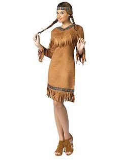 The Native American Fringed Women's Costume includes a faux suede dress with authentic looking Native American design trim and fringes. Description from lnt.com. I searched for this on bing.com/images