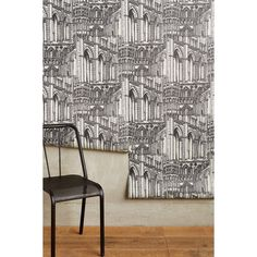 Anthropologie Gothic Arches Wallpaper ($78) ❤ liked on Polyvore featuring home, home decor, wallpaper, anthropologie wallpaper, goth home decor, gothic home accessories, goth wallpaper and gothic home decor