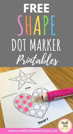 Shape dot marker printables!  Help your child learn some basic shapes with these fun dot marker math printables.  Great for practising fine motor skills, this math activity is perfect for preschool and kindergarten aged children.  Click through to read more and to download your own copy of these printables!  #preschoolmath #shape #mathkidsandchaos #kindergartenmath #mathactivities #dotmarkers Numbers Preschool, Preschool Math, Preschool Worksheets, Teaching Kindergarten, Teaching Resources, Teaching Ideas, Educational Activities For Preschoolers, Fun Math Activities, Toddler Activities