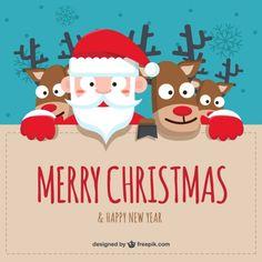 Cartoon santa claus and reindeers background Free Vector