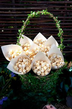Bamboo cones with popcorn.