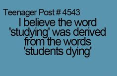 School students studying dying