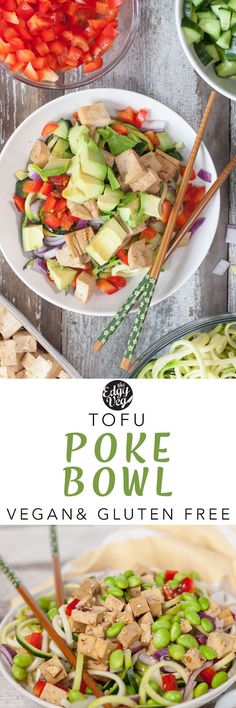 This vegan poke bowl includes sesame and ginger marinated tofu cubes sitting on top of a bed of zucchini noodles and topped with fresh veggies like carrots, red pepper, onion,...