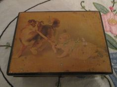 Antique Wood Brook's sewing thread box dog and child #Brookssewingthread