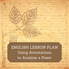 Once students know how to annotate a poem, you can teach them how to analyze a poem. This lesson plan does both. English Writing, Teaching English, Ap English, English Lesson Plans, English Lessons, Teaching Poetry, Teaching Reading, Learning, Ap Literature