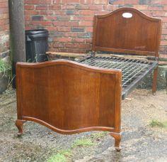 Vintage oak Art Deco unusual standard single bed serpentine 1930s