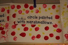Mrs. Lee's Kindergarten: Shape Fun! lee kindergarten, circles, marshmallow, kindergarten shapes, fabric painting, circl paint, shape fun, craft ideas, preschool