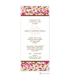 Pretty Roses Hot Pink Invitation with monogram for Bridal Shower (or Bridal Tea). use any wording | Little Angel Announcements