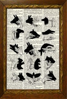 Hand Shadow Puppets Dictionary Page Art Print by TheMuckyDuck, $10.00