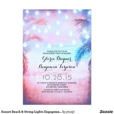 """Sunset Beach & String Lights Engagement Party 5"""" X 7"""" Invitation Card"""