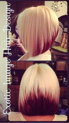Blonde deep red ombre dyed Bob hair style