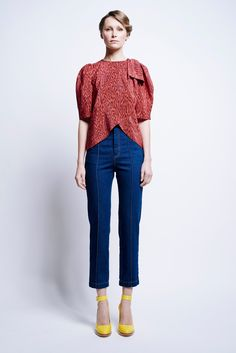 Karen Walker | Pre-Fall 2016 | 10 Orange printed short sleeve top and blue cropped jeans