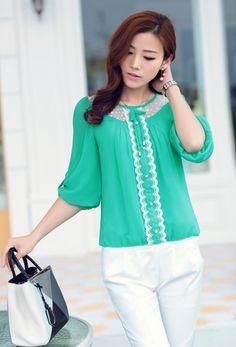 2015 chiffon blouses, summer blouses, new blouses, sweet blouses, chiffon gilrs shirt, cute chiffon tops, korean chiffon tops, asian style chiffon tops, pearl buttons chiffon top, YRB fashion, YLY