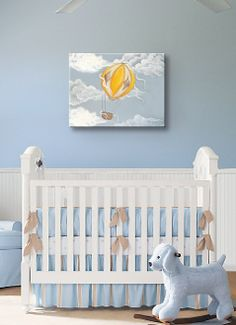 Yellow Hot air balloon Nursery Wall Art. Available at  http://shop.muralmax.com #nurseryart #nurser #decor