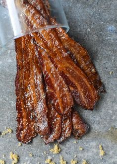 The Ultimate Candied Bacon. It's all about the little things in life. This Candied Bacon recipe makes life even better with every savory bite! Candied Bacon Recipe, Bacon Recipes, Brunch Recipes, Breakfast Recipes, Cooking Recipes, Breakfast Ideas, Bacon Meals, Chicken Recipes, Bacon Breakfast