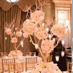 Blush and gold centerpiece for church decor in alter and then bring to cocktail hour or guest sign in table etc..
