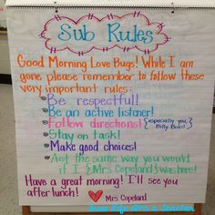 True Life I'm a Teacher - Management Monday - Sub Rules Anchor Chart [I need to learn how to forge handwriting and put this in every classroom I sub in lmaoooooooooooo- AJD] 5th Grade Classroom, Classroom Behavior, Future Classroom, School Classroom, Classroom Management, Classroom Ideas, Behavior Management, Class Management, Classroom Expectations