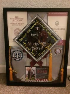 Make your own college graduation shadow box. College Graduation Parties, Graduation 2016, Graduation Cap Designs, Graduation Cap Decoration, Graduation Pictures, Grad Parties, Teacher Graduation Party, Graduation Cords, College Graduation Gifts