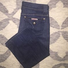 "Hudson Signature Bootcut Jeans Dark Rinse Signature Bootcut Jeans.  Size: 30.  Waist: 16"".  Rise: 8 1/2"". Inseam: 34"".  98% Cotton, 2%  Elastin.  These are in great shape.  No holes or fraying at the leg openings.  The seat of the pants were starting to thin out a little, so I had a seamstress sew on a a patch on the inside to reinforce it.  You can not see or feel it.  With this done they look practically brand new. Hudson Jeans Jeans Boot Cut"
