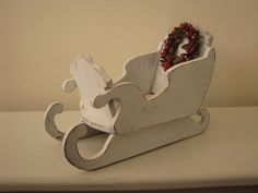 Christmas Sleigh White Wood Shabby Distressed Sled by PassItOn2013, $15.00