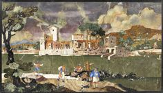 """A Tuscan landscape panel made out of cut inlaid stone in the pietre dure (meaning """"hard stone"""") technique sold at Bonhams' Fine European Furniture, Sculpture & Works of Art auction in London for £157,250"""