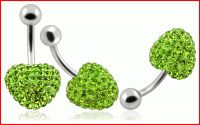 Light Green Color Crystal stone Heart With SS Curved Bar Ring Stone Heart, Belly Rings, Crystal Ball, Stones And Crystals, Green Colors, Swarovski, Banana, Jewelry, Bar