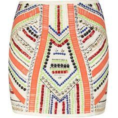 River Island Tribal Embellished Mini Skirt, 60 ❤ liked on Polyvore