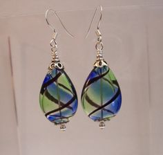 Handmade Earrings for Gift for Wife, Unique Earrings, Girlfriend Gift, Blue and Green, Glass Bubble Drops, Artistic Accessory, Delicate Art