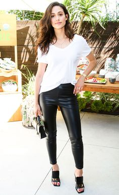 Emmy Rossum wears a white T-shirt, black ankle-length leather pants at the NPhilanthropy: Give Back Garden Party.