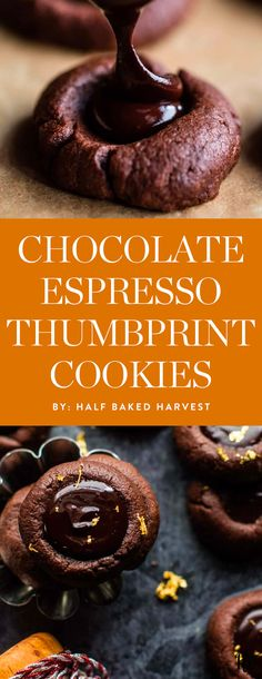 Get the recipe for these chocolate espresso thumbprint cookies and more of the best thumbprint cookie recipes to bring to your holiday parties. #thumbprintbcookies #holidaydesserts #holidayrecipes #holidaycookies #holidaytreats #cookierecipes