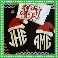 Santa hat on left is shown with glitter, the one on right is red. White shirt shown with glitter mono.